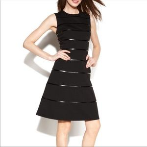Calvin Klein Striped Faux Leather Flare Dress 2